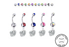 Washington Nationals Silver Belly Button Navel Ring - Customize Gem Color - NEW on Ebay
