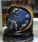 """11"""" Collect Chinese Agate Carving Fish Fishes Barracuda Animal Lotus Leaf Statue"""