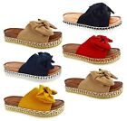 NEW LADIES WOMENS SUMMER BOW PEARLS WEDGE PLATFORM STUDS SLIP ON SANDALS SHOES