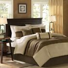 Modern 7pc Taupe & Brown Microsuede Comforter Set AND Decorative Pillows image