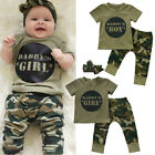 Newborn Baby Daddy's Boy Girl Camo T- shirt Tops +  Pants Outfits Set Clothes US