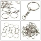 Lots Keyring Silver Tone Keychain Making Key Fob Split Rings 4 Link Chain DIY