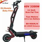 3200W 60V 11 Inch Electric Scooters Two Motor Wheel Scooter Electrico 80KM/H LG