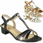 Ladies Party Sandals Buckle Womens Casual Work T-Bar Summer Mid Heel Shoes Size