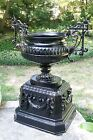 Monumental antique cast iron garden urn... professionally sandblasted and coated