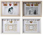 Wooden Photo Frames Choice of 3 Words Image Display Holder Picture Box With Pegs