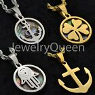 Stainless Steel Gold Silver Hamsa Anchor 4 Leaf Clover Good Luck Pendant Charm