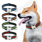 Reflective Nylon Dog Collar Personalised ID Collar Engraved for Small Large Dogs