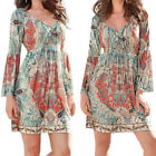 Vintage Women Bohemian V Neck Tie Printed Dress Ethnic Style Summer Shift Dress
