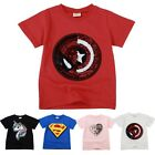 Girls Boys T-Shirts Children Magic Sequin Reversible Cotton Casual Summer