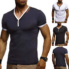 Men's Slim Fit V Neck Short Sleeve T-Shirt Muscle Tee Casual Tops Henley Shirts image