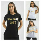 Womens Yves Saint Love in GOLD FOIL Slogan Print  Short Sleeve Top Ladies TShirt