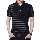 Men Plus Size Stripe Cotton Quality Casual Short Sleeve Polo T Shirts Tops Tees