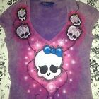 Woman's Airbrushed T shirt Med Monster high Skulls 1 of a Kind
