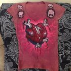 womens hand airbrushed Monster High bleeding heart t shirt SM Gothic 1 of a kind
