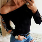 Women Off Shoulder Blouse Long Sleeve Cut Out Ladies Casual Slim Top T-Shirt Tee