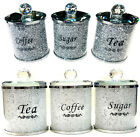 NEW CRUSHED STUNNING DIAMOND SILVER FILLED TEA COFFEE SUGAR CANISTERS JARS