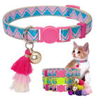 Breakaway Pet Cat Collars Safety Quick Release for Puppy Kitten Bell Tassel Pink