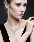 Bridal Rhinestone Floral Necklace And Earrings Wedding Jewelry Set Various Color
