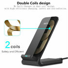 10W Qi Wireless Fast Charger 2-Coils Charging Stand Dock for iPhone X 8 Samsung