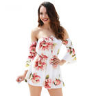 Women Sexy Fashion Summer Floral Print Off Shoulder Jumpsuit Loose Playsuit