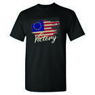 Betsy Ross Distressed Vintage Flag Victory on a Black Shirt $17.0 USD on eBay