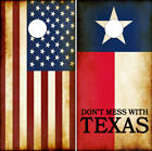 Cornhole Wraps Don't Mess With Texas Flag and Rustic American Flag Combo 2-pack