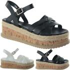 Ladies Womens Mid Low Wedge Heel Ankle Strap Summer Espadrille Sandals Shoe Size