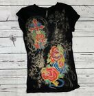 Cotty On Black Short Sleeve Tattoo Key Rose Sword Printed Shirt with Rhinestone