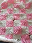 Beautiful Handmade Knit Baby Blanket In Pink With Ribbon  Detail..new.