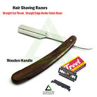 Men's Hair Shaving Razor Wood Handle Straight Edge Salon Hair Shear