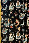 Forget Me Not Black and Tea Alexander Henry Fabric Mermaid, Sailor, Nautical