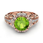Fashion Women Green Zircon Inlaid Bronze Flower Ring Ladies Party Claw Ring Gift