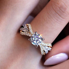 Women's Zircon Alloy Four-prong Engagement Claw Ring Ladies Crystal Simple Rings