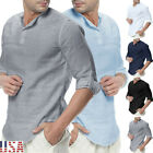 Mens Long Sleeve linen Soft Blouse V Neck T-shirt Tops Basic Shirt Henley Casual