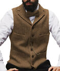 Kyпить Mens Tweed Waistcoat Notch Lapel Vintage Vest Herringbone Wool Business Silm 3XL на еВаy.соm