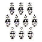 10PCS Halloween Skull Beads Tibetan Silver Charms Jewelry Pendant DIY Findi<w