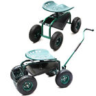 Wheeled Outdoor Garden Cart Gardening Planting Work Seat Chair with Tools Tra