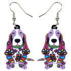 Acrylic Floral Cartoon Basset Hound Dog Earrings Pet Jewelry For Women Kid Gifts