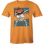 Funny Dabbing Skeleton Pumpkin Head Halloween Party Short Sleeve Men's T-Shirt