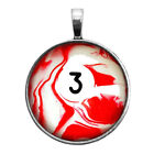 Number Three #3 Pool Ball Key Ring Necklace Cufflinks Tie Clip Ring Earrings $16.95 USD on eBay