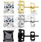 925 Sterling Silver Stud Earrings Men Women 3,4,5,6,7,8,10mm Diamond Square