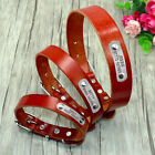 Genuine Leather Dog Collar Personalised Dog ID Name Collars for Small Large Dogs