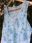 Anokhi Aqua Blue Floral Gold Accent Printed Vest Top Quirky Boho Hippy Sz S  C8