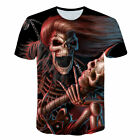 Men 3D Skull Demons Evil Pirate Halloween Print T-Shirts Tops Tees Street Wear