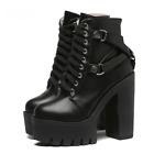 Women Black Lace Up 8cm Above Platform Soft Leather Ankle Boots High Heels Shoes