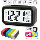 Large LED Digital Alarm Snooze Clock Voice Control Time Display 4 Screen US