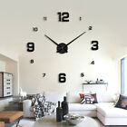New Large Wall Clock Modern 3D Acrylic Mirror Sticker Big Number Watch DIY Decor