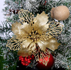 2020 NEW 5Pc Glitter Christmas Flower Tree Hanging Ornaments Festival Xmas Decor