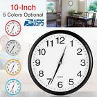 Modern 10 Inch Round Wall Clock Silent Quartz Non-ticking Battery Home Hanging